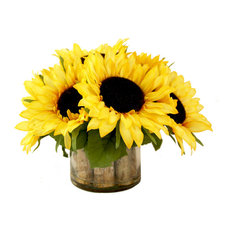 Sunflower bouquet in birch-lined glass
