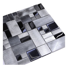 "Black Glass Metal Backsplash Tile, 12""x12"""