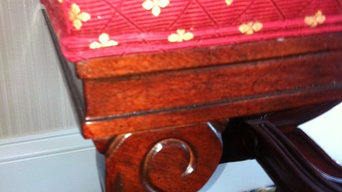 Custom ottomans in rich red diamond patterned fabric.