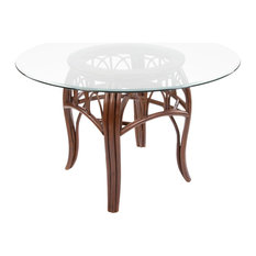 Cuba Table Base In Sienna With 48-inch Round Tempered Bevel Edge Glass