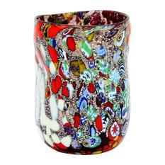 Murano Drinking Glass, Silver Foil Millefiori