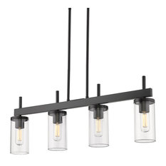 Winslett Linear Pendant, Matte Black With Ribbed Clear Glass