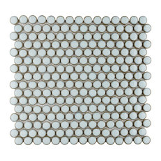 """SomerTile 12""""x12.63"""" Penny Porcelain Mosaic Floor and Wall Tile, Silk White"""