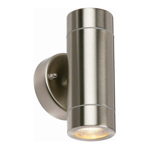 Brushed Steel Palin Outdoor 2-Light Wall Light