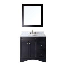 "Virtu Elise 36"" Single Bathroom Vanity, Espresso With Marble Top, With Mirror"
