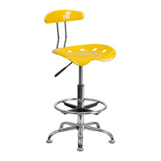 flash furniture vibrant orange yellow and chrome drafting stool with tractor seat office acrylic office chairs