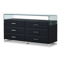 Modern Janus Black Leatherette Dresser With Bent Glass And 2 Drawers