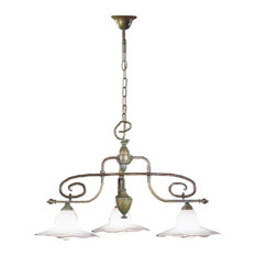Country Line 1834 Chandelier, Graphite And Silver, Satin White and Blue