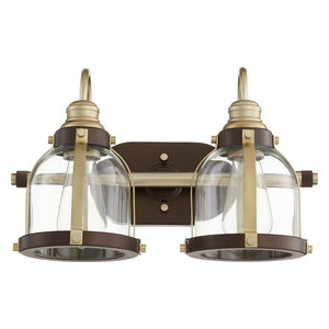 "2-Light 16"" Aged Brass and Oiled Bronze Vanity"