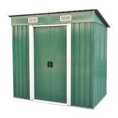vidaXL Garden Shed 6'x4' Outdoor Steel Storage Utility Tool House w/ Door