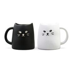 Black And White Cat Mug Set