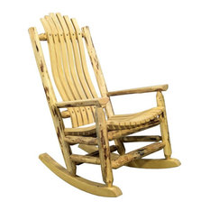 """Montana Woodworks Handcrafted 19"""" Transitional Wood Adult Log Rocker in Gold"""