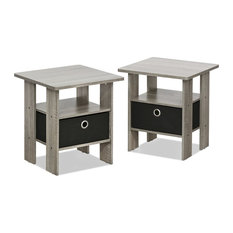 Stylish End Table Bedroom Night Stand Petite Set of 2 French Oak Gray/Black by Anzy