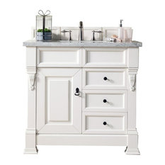 "Brookfield 36"" Cottage White Single Vanity w/ 2cm Carrara White Marble Top"