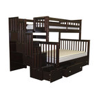 Adarn Espresso Wood Stairway Chest Twin Over Full Bunk Bed