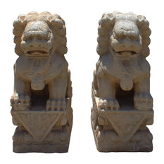 Consigned, Distressed Brown/White Stone Fengshui Foo Dogs Statues, 2-Piece Set