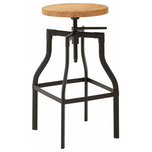 Traditional Bar Stool With Black Finished Metal and Ash Wooden Seat