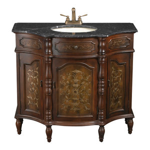 Hand Painted Brown Vanity Sink With Black Granite