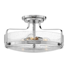 Hinkley Harper Foyer Semi-Flush Mount, Chrome With Clear Seedy Glass