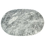 Rembrandt Home - Marble Table Place Mat Badal, Round Shaped With Gray Finish - Handcrafted Marble Table Placemat