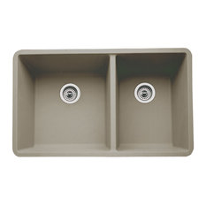 "Blanco 441296 18""x33"" Granite Double Undermount Kitchen Sink, Truffle"