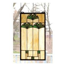 """Meyda 11""""x20"""" Ginkgo Stained Glass Window"""