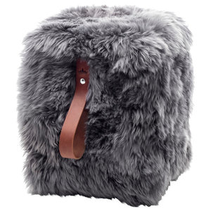 Square Sheepskin Pouffe, Grey With Brown Strap