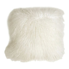 "Pillow Decor, Mongolian Sheepskin Throw Pillow, Snow White, 18""x18"""