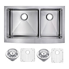 """36"""" X 22"""" 15mm Radius 60/40 Double Bowl Stainless Steel Apron Front Kitchen Sink"""