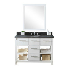 Single Sink Bathroom Vanity In White Finish With Limestone Top