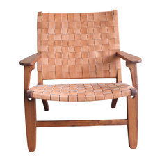 Abuelo Leather Lounge Chair, Barley, Royal Mahogany
