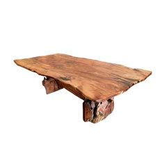 La Casona Custom Furniture   Root Live Edge Mesquite Rustic Dining Table  Copper Inlay, 96