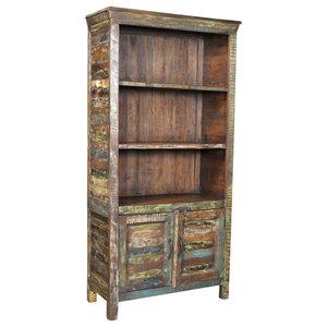 VidaXL Reclaimed Wood Bookshelf With 3 Shelves and 2 Doors