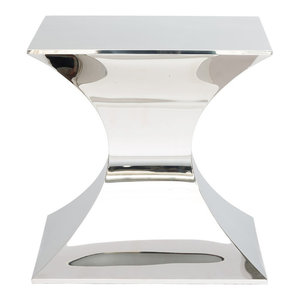 Nuevo Living Praetorian Side Table, Polished Stainless Steel