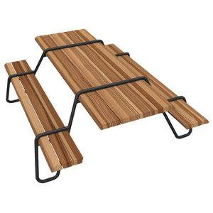 Clipboard Picnic Table, Black, Beech Wood, Indoor use