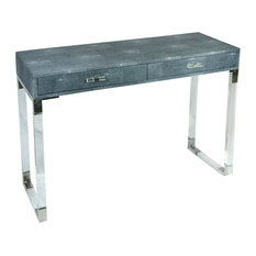 2 Drawer Wooden Console Table With Acrylic Legs Gray And Chrome