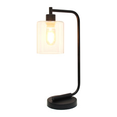Simple Designs Bronson Industrial Iron Lantern Desk Lamp, Glass Shade, Black