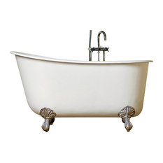 "Cambridge 58"" Cast Iron Swedish Tub, No Faucet Drillings, Brushed Nickel Feet"