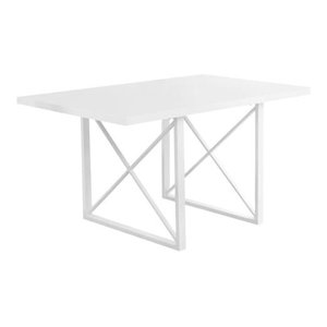 Dining Table With Metal Base, White Glossy/White