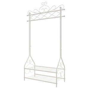Traditional Clothes Stand, White Finished Metal With Rail and 2 Open Shelves