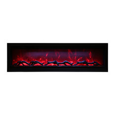 """60"""" Clean face Electric Built-in with log and glass, black steel surround"""