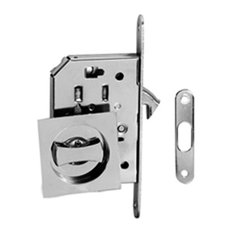 Jako Hardware   Contemporary Modern European Style Square Pocket Door Lock,  Bright Chrome   Pocket