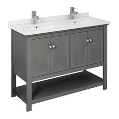 Fresca Manchester Regal 48-inch Gray Wood Veneer Double Sink Cabinet Top And Sinks