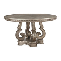 ACME Northville Dining Table With Single Pedestal Antique Champagne