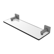 "Montero Collection 16"" Glass Vanity Shelf With Beveled Edges, Matte Gray"
