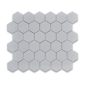 "10.75""x11.875"" Thassos White Hexagon Mosaic Tile Polished, Chip Size 2"""