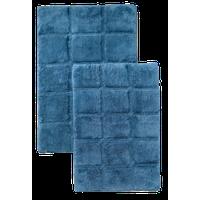"Non-Slip Cotton Checkered 2-Piece Bath Rug Set, 20"" x 30"", 24"" x 36"", Sapphire"
