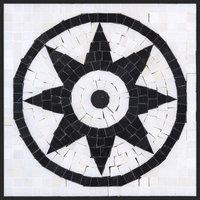 "12""x12"" Thassos White Marble and Nero Marquina Mix Sunny Medallion"