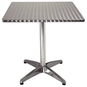 Contemporary Square Bistro Table With Stainless Steel Top and Aluminium Base