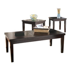 Wooden Table Set With Tempered Glass Inserted Top Set Of Three Brown